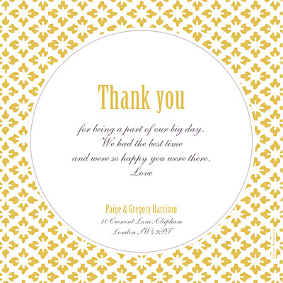 Wedding Thank You Cards Radiance yellow finition