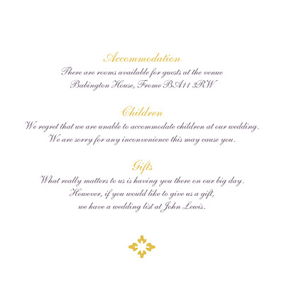 Guest Information Cards Radiance yellow finition