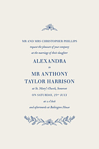 Natural chic (small) blue elegant wedding invitations