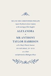 Rustic natural chic (small) blue wedding invitations