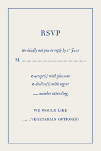 RSVP Cards Natural chic (small) blue