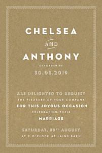 Declaration kraft orange wedding invitations