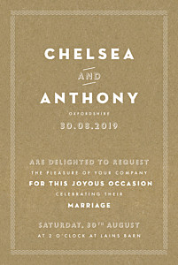 Declaration kraft orange wedding invitations
