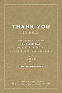 Declaration kraft wedding thank you cards