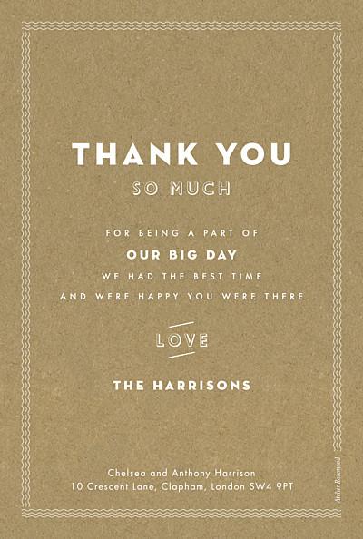 Wedding Thank You Cards Declaration kraft finition
