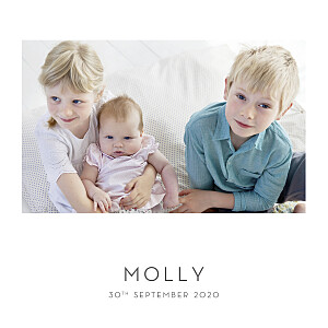 Lovely heart (foil) white baby announcements