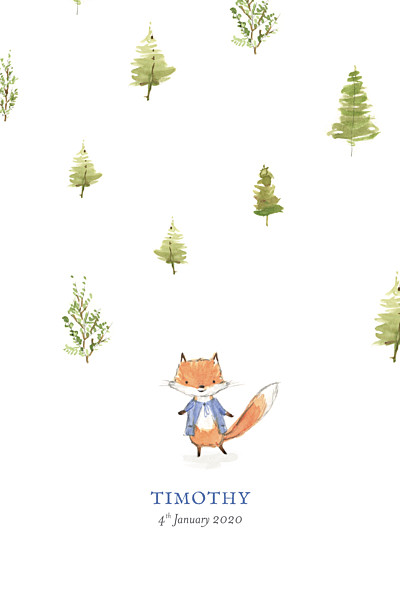 Baby Announcements Watercolour fox photo blue finition