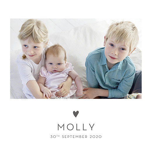 Baby Announcements Lovely heart photo gray