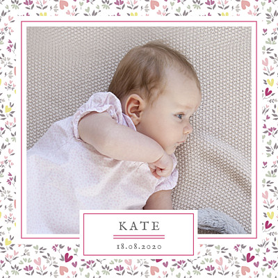 Baby Announcements Liberty heart plum finition