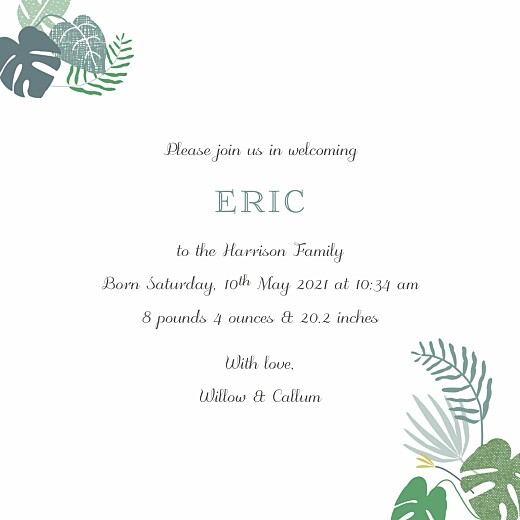Baby Announcements Tropical forest 3 photos green - Page 3