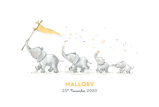 Baby Announcements Elephant family of 4 yellow
