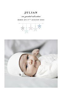 Baby Announcements Liberty origami stars photo blue