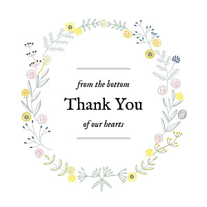 Rustic floral white baby thank you cards