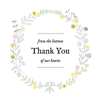 Baby Thank You Cards Rustic floral white finition