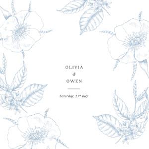 Wedding Invitations Engraved minimalist blue