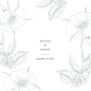 Wedding Invitations Engraved minimalist green