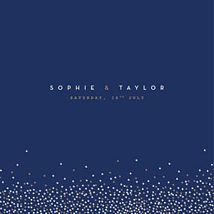 Confetti blue modern wedding invitations