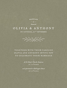 Provence green traditional wedding invitations