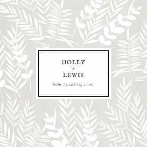 Foliage gray brown wedding invitations