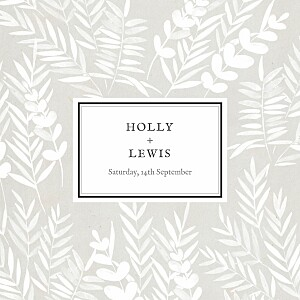 Foliage gray yellow wedding invitations