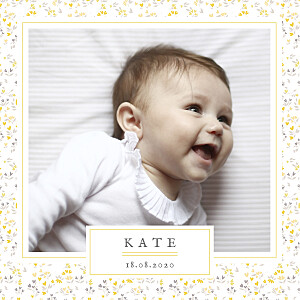 Liberty heart (foil) yellow foil baby announcements