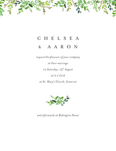 Canopy green tropical wedding invitations