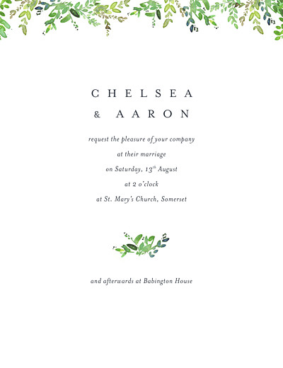 Wedding Invitations Canopy green finition