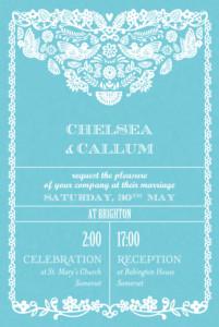 Wedding Invitations Papel picado (small) blue