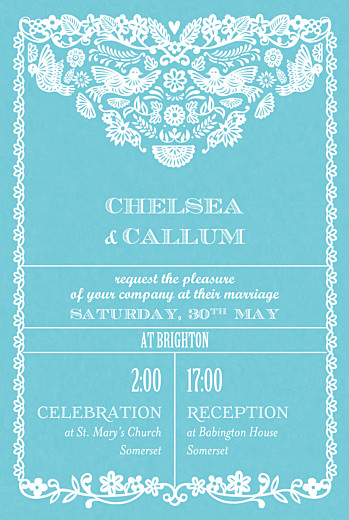 Wedding Invitations Papel picado (small) blue - Page 1