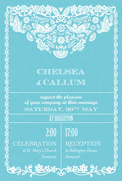 Wedding Invitations Papel picado (small) blue finition