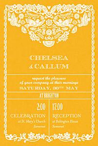 Papel picado (small) yellow yellow wedding invitations