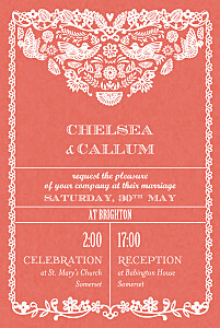 Papel picado (small) red red wedding invitations