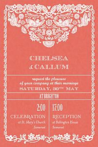 Wedding Invitations Papel picado (small) red