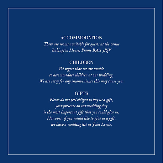 Guest Information Cards Natural chic (square) blue
