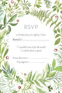 RSVP Cards Forest whisper (small) green