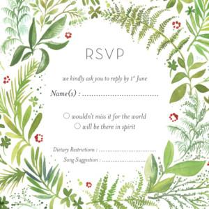 RSVP Cards Forest whisper (square) green