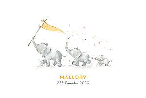 Baby Announcements Elephant family of 3 yellow