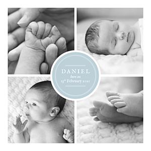 Baby Announcements Medallion 4 photos blue