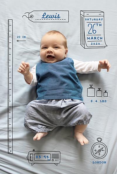 Baby Announcements Picto portait white finition