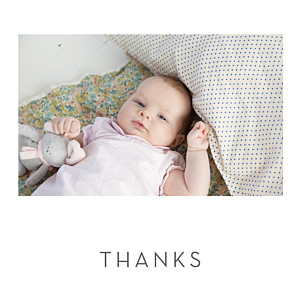 Lovely heart (foil) white foil baby thank you cards