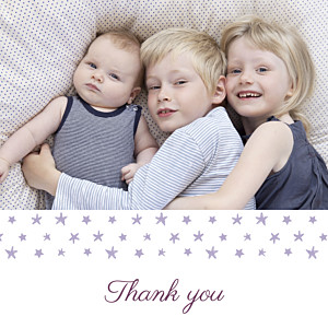 Starry ribbon photo violet purple baby thank you cards