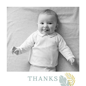 Tropical forest photo green baby thank you cards