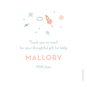 Little space traveler white baby thank you cards
