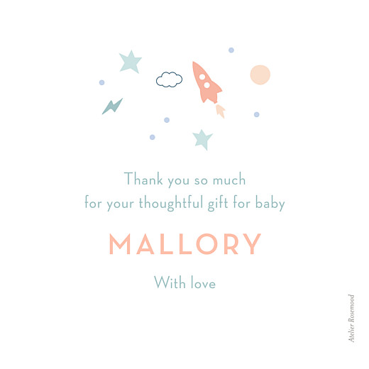 Baby Thank You Cards Little space traveler white