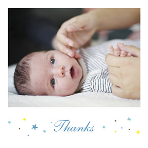 Liberty stars photo blue baby thank you cards
