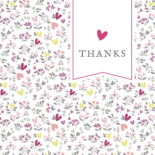 Baby Thank You Cards Liberty heart plum