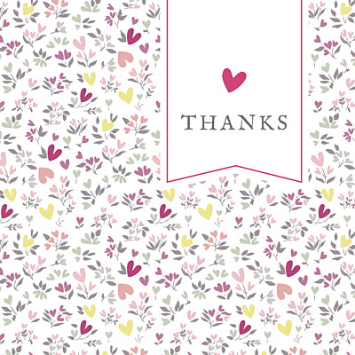 Baby Thank You Cards Liberty heart plum finition