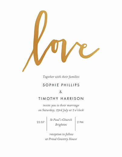 Wedding Invitations Love letters (foil) white