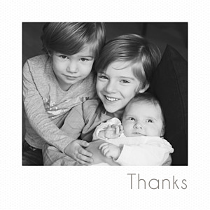 Mini polaroid white marion bizet baby thank you cards