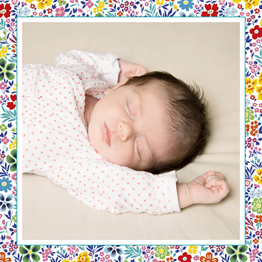 Baby Thank You Cards Flower garden photo (square) yellow & red